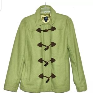 Gap Lime Green Wool Blend with Lucite Buttons & Zi